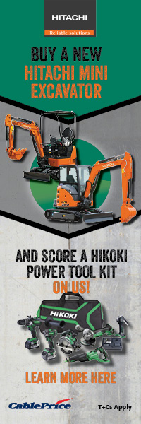 Buy a new Hitachi Mini Excavator and score a Hikoki Power Tool Kit on Cable Price!