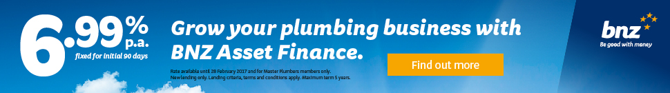 Grow your plumbing business with BNZ Asset Finance - 6.99% p.a. fixed for initial 90 days