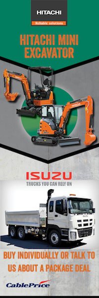 Hitachi Mini Excavator and Isuzu Trucks—Buy individually or talk to Cable Price about a package deal