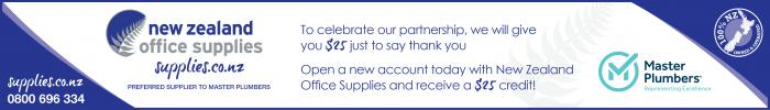 A $25 credit for Master Plumbers' members who open a new account with New Zealand Office Supplies