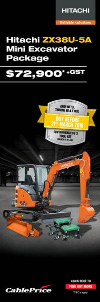 Hitachi ZX38U-5A Mini Excavator Package from Cable Price