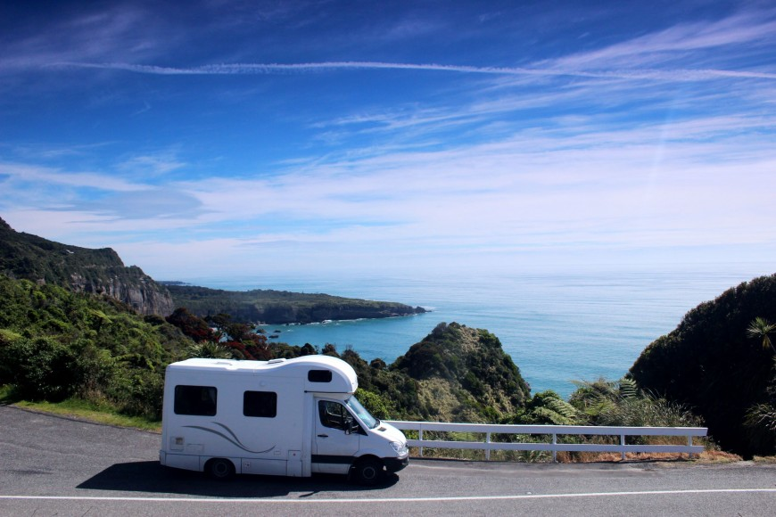 Campervan parked up with view of the sea