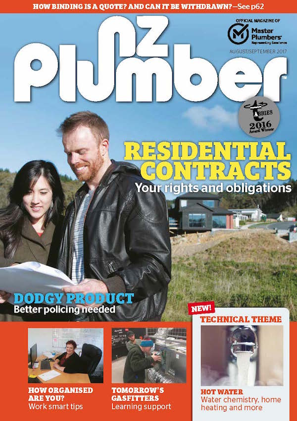Cover from NZ Plumber AugSept17 Lo res